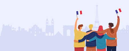 We love France Banner. Back view of people hugging together and holding Flag of France, Vector