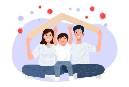 Stay home banner, Happy familly holding roof mockup over their heads protrcting family against covid-19. Vector 矢量图像