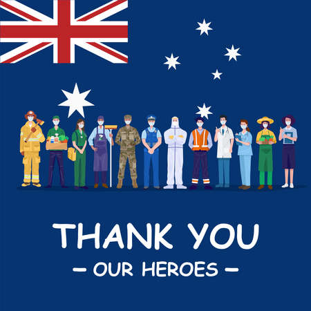 Thank you our heroes. Various occupations people wearing protective masks standing with flag of Australia. Vector