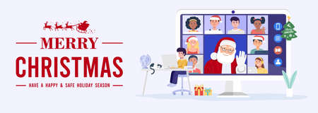 Kid having video conference on computer with Santa Claus and his friends at home. Vector