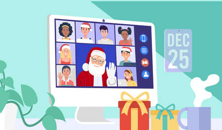 Santa Claus having video conference on computer with children at home. Vector