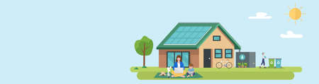 Illustration of happy family and eco friendly sustainable modern house 矢量图像