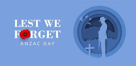 Anzac Day Banner with silhouette of soldier paying tribute and poppy flower, Vector