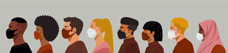 Group of people of different nationalities wearing protective masks. Vector