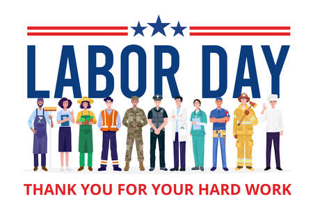Happy Labor Day. Group of People with Different Jobs. Vector 矢量图像