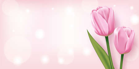 Beautiful Pink tulips on a Pink Background, Vector 矢量图像