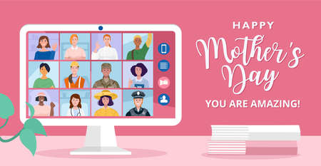 Happy mother's day concept, Online conference with different women of various professions. 矢量图像