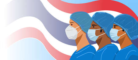 Illustration of nurses wearing face masks and protective caps with flag of Thailand as a background. Vector
