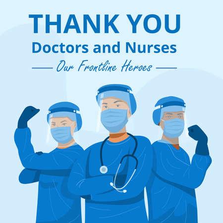 Frontline heroes, Illustration of doctors and nurses characters wearing masks. Vector 矢量图像