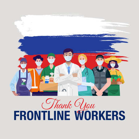 Thank you frontline workers. Various occupations people standing with flag of Russia. Vector