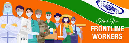 Thank you frontline workers. Various occupations people standing with flag of India. Vector