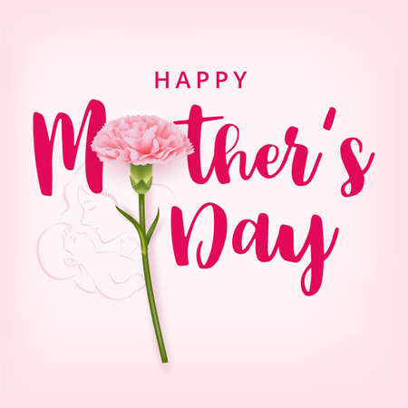 Happy mother's day card with pink carnation on a pink background