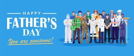 Happy Father's Day. Group of men with various occupations. Vector 矢量图像