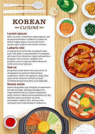 Restaurant menu design, Top view of Korean food on wooden table.