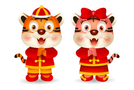 2022 Chinese New Year, Cute cartoon tigers in Chinese costume greeting. Vector 矢量图像