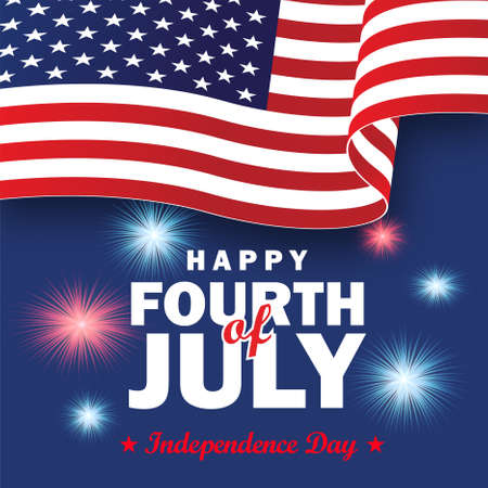 Happy Independence day 4th of July banner. USA Flag and fireworks. 矢量图像