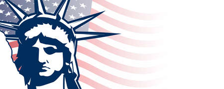 Happy Independence day 4th of July banner with statue of liberty.