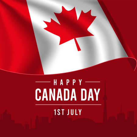 Happy Canada Day Greeting Card with Waving Flag on Red Background. 矢量图像