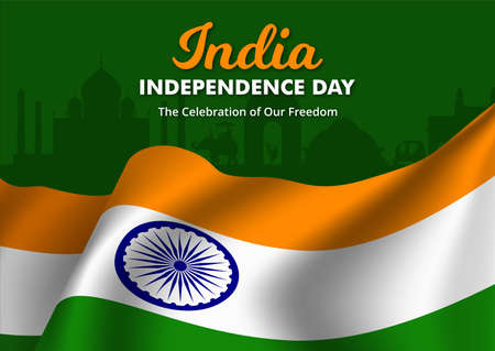 Illustration of Flag of India waving, Happy Independence day banner, Vector