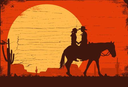 Silhouette of cowboys riding horses 矢量图像