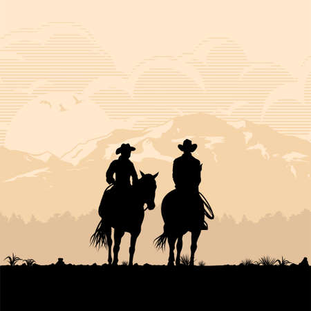 Silhouette of a cowboys riding horses