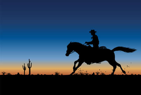 Silhouette of a cowboy riding horse at sunset, vector