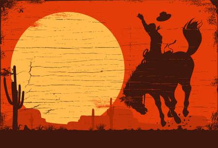Rodeo cowboy riding wild horseRodeo cowboy riding wild horse 矢量图像