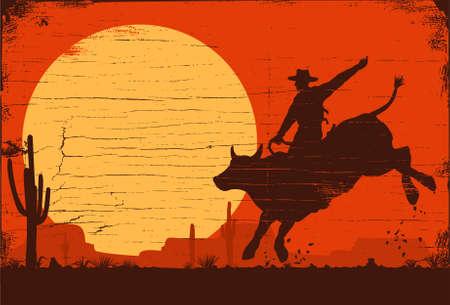 Rodeo cowboy riding bull at sunset, vector 矢量图像