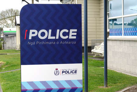 HAMILTON, NZ - OCTOBER 5, 2019 : New Zealand police signage. 新闻类图片