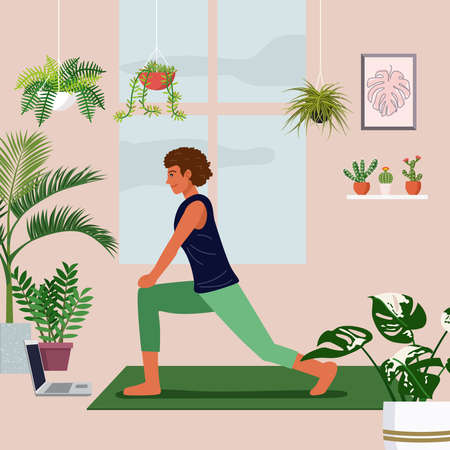 Stay at home concept, young woman excercising over a video call in a living room decorated with indoor plants