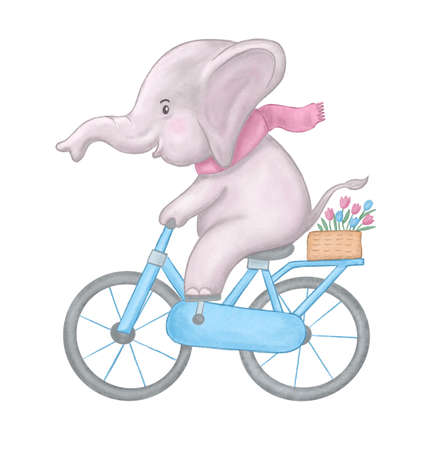 Children's watercolor cute illustration. Cute baby elephant watercolor riding bicycle.