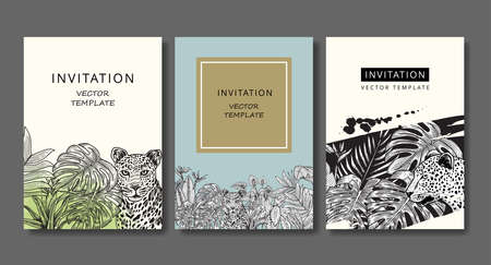 Set of vintage invitation cards with leopard and tropical plants. Drawing engraving.