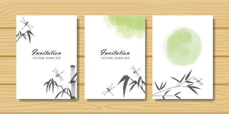 Set of invitation cards with dragonfly and bamboo branch. Traditional oriental watercolor painting 矢量图像