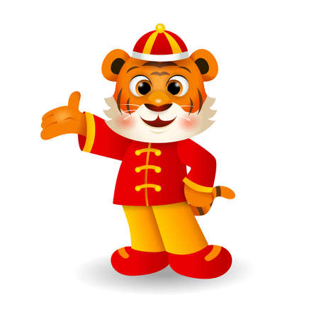 2022 Chinese New Year, Cute cartoon tiger in Chinese costume greeting. Vector 矢量图像