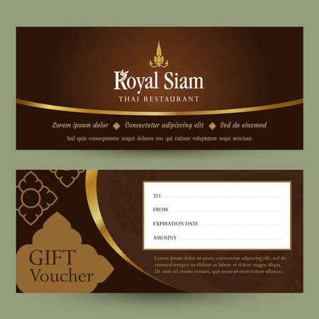 Thai restaurant gift voucher design template. Thai pattern.