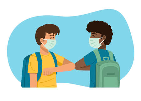New normal concept. Kids in medical masks bumping elbows while greeting each other. Vector Illustration