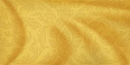 Thai pattern. Golden silk background. Gold satin waves. Vector