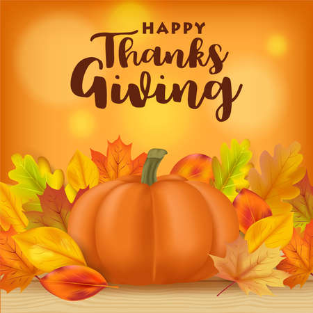 Realistic thanksgiving background with pumpkins and autumn leaves, Vector 矢量图像