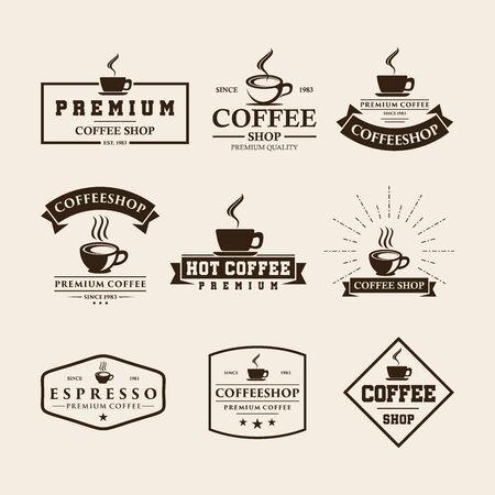 Set of vintage coffee shop logo design and labels
