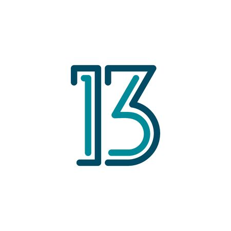 Letter B and 13 Logo Vector