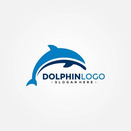 Dolphin Logo Template Vector. Dolphin jumping logo design concept. 向量圖像