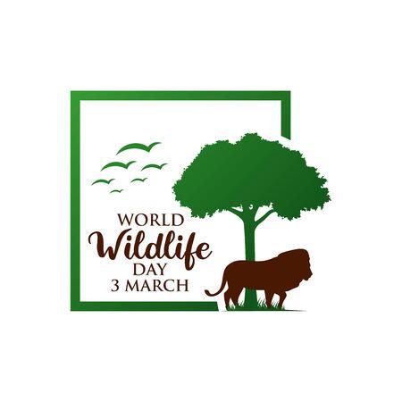 March 3, World Wildlife Day Logo Design Template. Vector Illustration. Logo