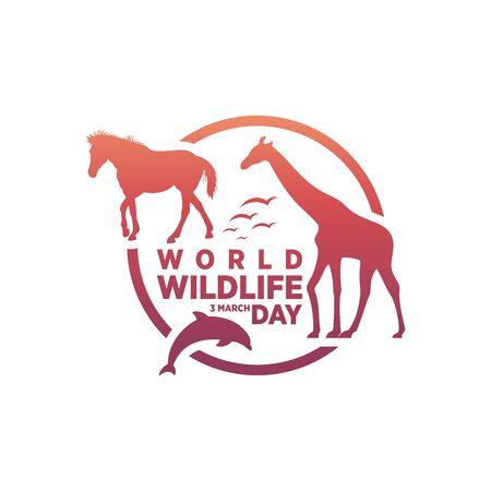 March 3, World Wildlife Day Logo Design Template. Vector Illustration.