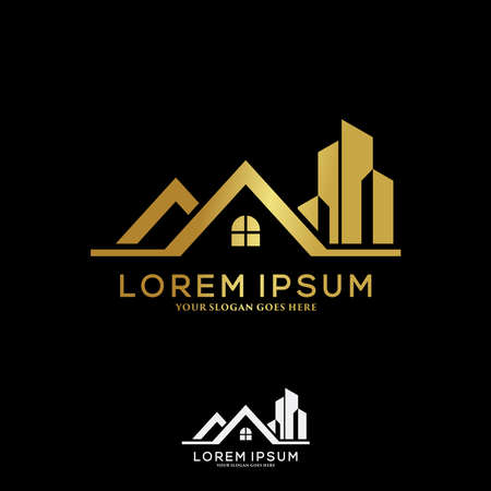 Luxury building construction logo template design concept. Real estate and architecture logo vector.