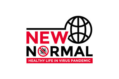 New normal words icon concept design with world globe icon for poster, banner, flyer. After the epidemic the COVID-19 virus caused the new normal life worldwide. Vector illustration.