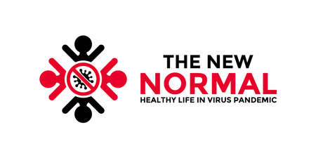 New normal words concept design with world globe icon for poster, banner, flyer. After the epidemic the COVID-19 virus caused the new normal life worldwide. Vector illustration. Vektoros illusztráció