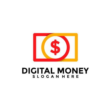 Money Transaction Logo Design Template. Digital Money Logo Vector.