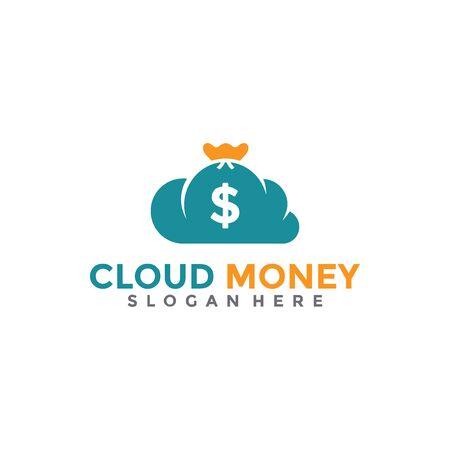 Cloud Money Logo Design Template. Online Pay Logo. Vettoriali