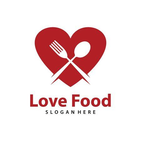 Love Food logo vector. Creative food logo vector Vettoriali
