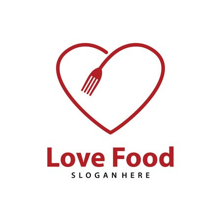 Love Food logo vector. Creative food logo vector Archivio Fotografico - 150373411